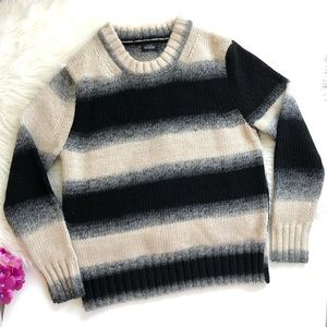 Kate Spade White Black Striped Chunky Sweater